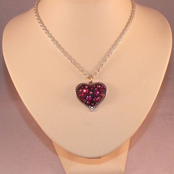 Pink Crystal Necklace Preciosa Crystal Necklace Heart Necklace Pink Heart Necklace Pink Crystal Heart Necklace