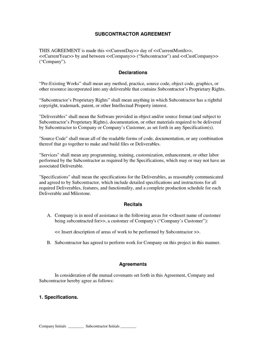 Subcontractor Long Form Contract Contractor and Employee – Subcontractor Agreement Template