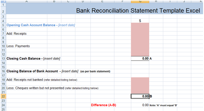 Bank Reconciliation Statement Excel Template XLS – Bank Reconciliation Form