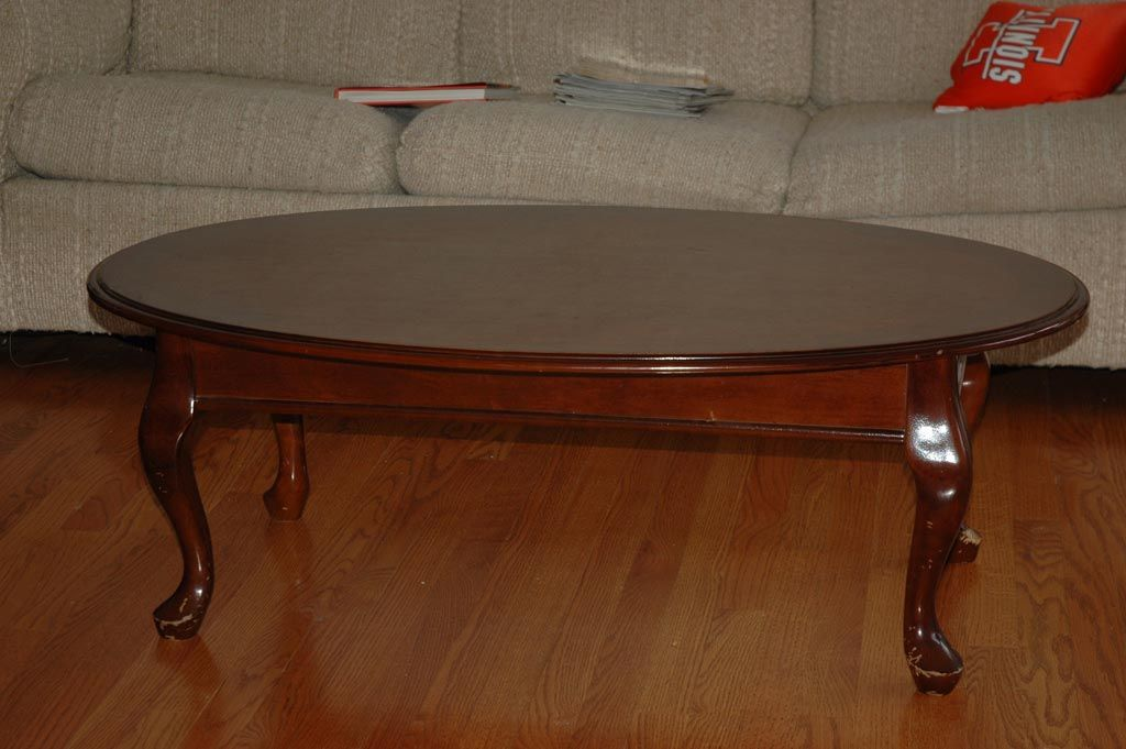 Antique oval coffee table cherry wood coffee table