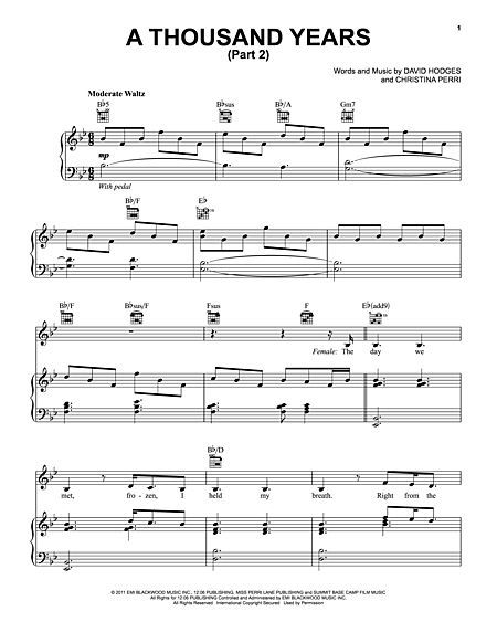 A Thousand Years Part 2 With Images Digital Sheet Music