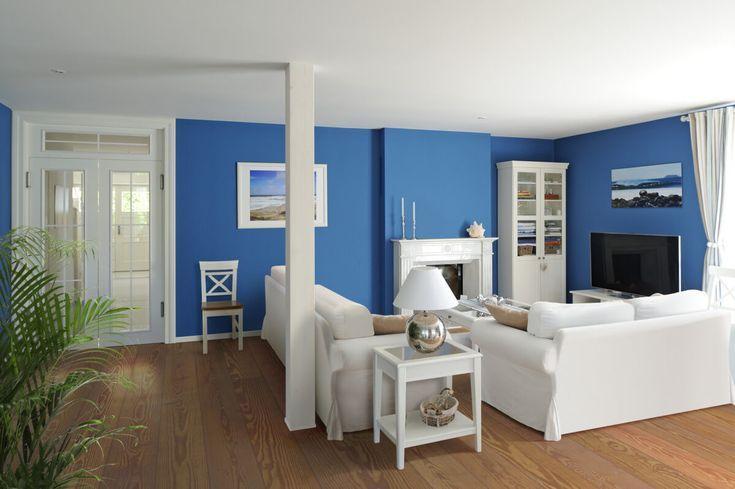 Wohnzimmer Im Landhausstil Wandgestaltung Blau   Inneneinrichtung Interior  Design Amerikanisches Landhaus Hirt Von Baufritz Haus   HausbauDirekt.de