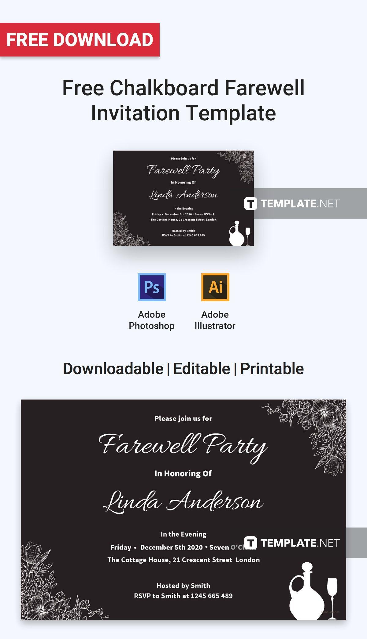 Chalkboard Farewell Invitation Template Free Jpg Illustrator Word Apple Pages Psd Publisher Template Net Farewell Invitation Invitation Template Farewell Invitation Card