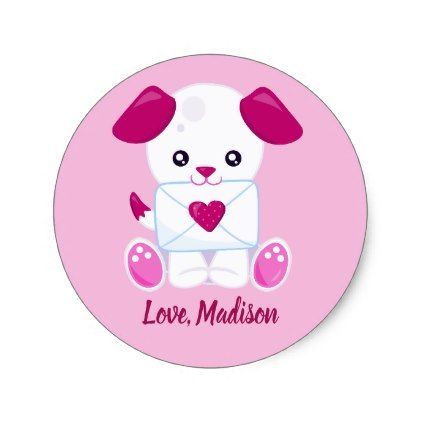 Cute valentines day pink puppy dog classic round sticker dog puppy dogs doggy pup hound