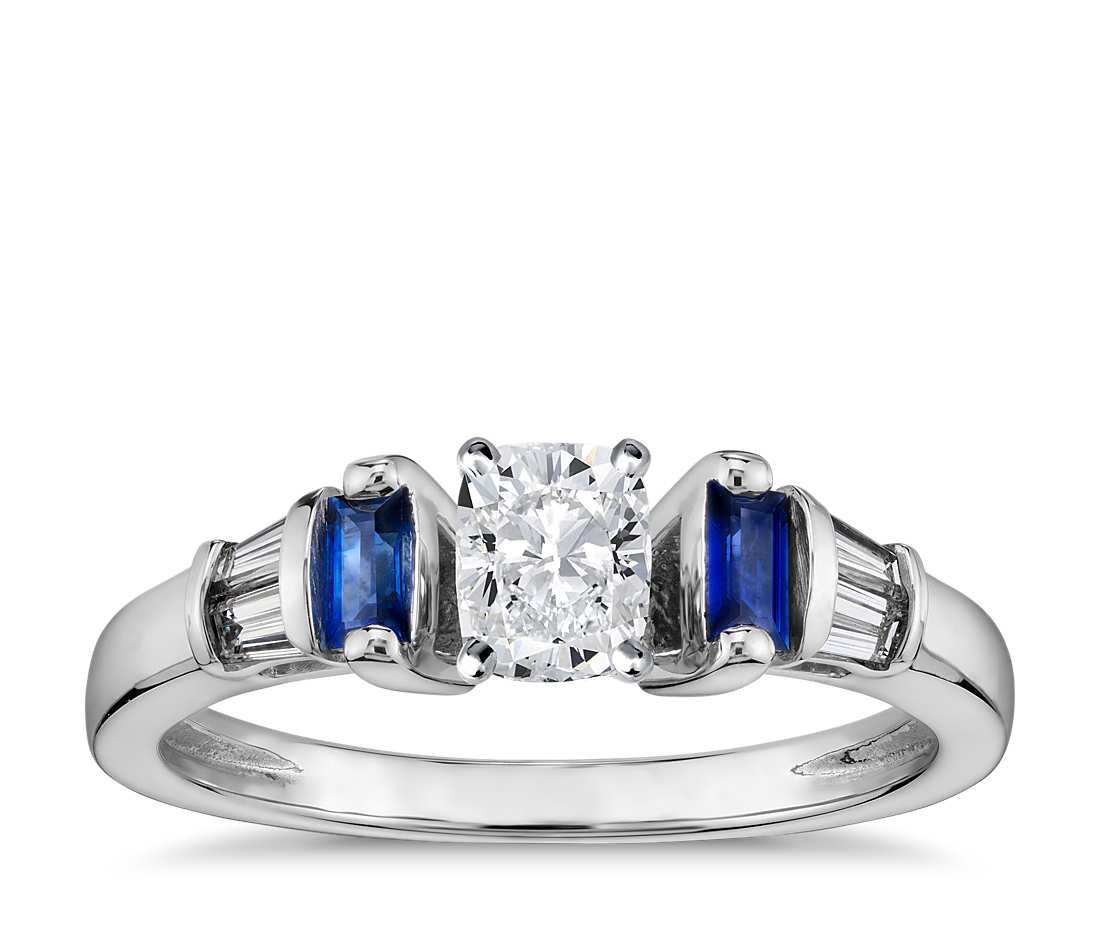 Cushion Cut Robert Leser Baguette-Cut Sapphire and Diamond Engagement Ring 18k White Gold .70 - .80 ct., Women's, Size: 3.5 - 8.5, White Gold Diamond Sapphire