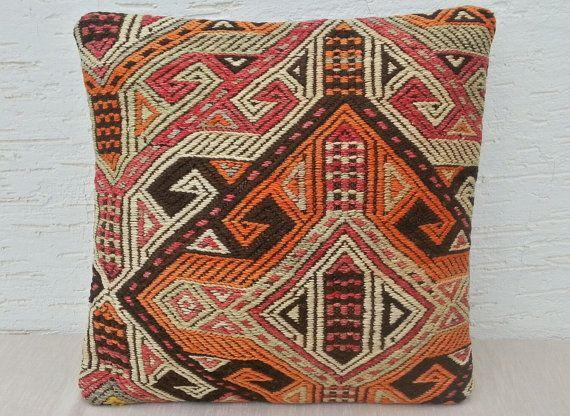 16X16 Embroidered Orange Kilim Pillow Cover