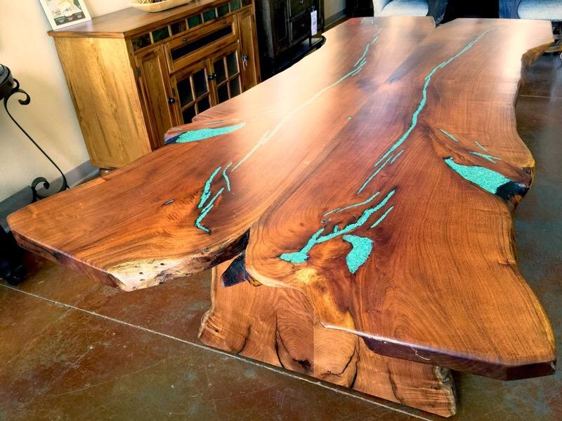Live Edge Mesquite Dining Table With Turquoise Inlay Turquoise