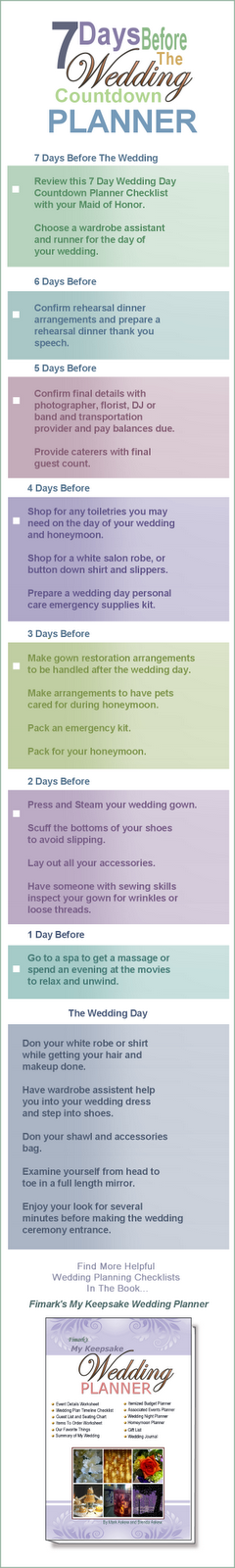 Wedding Blog: 7 Day Wedding Countdown Checklist Bookmark