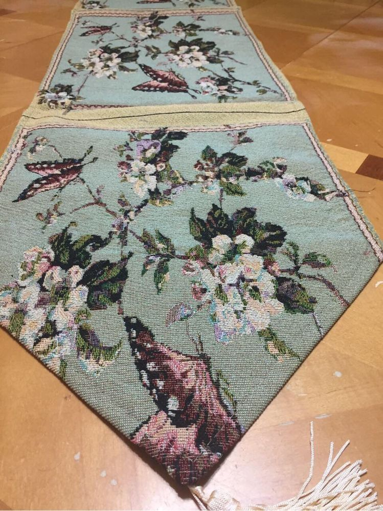 Set Of Five Floral Butterfly Tapestry Table Linens Spring Table Runner  Placemats #Unbranded