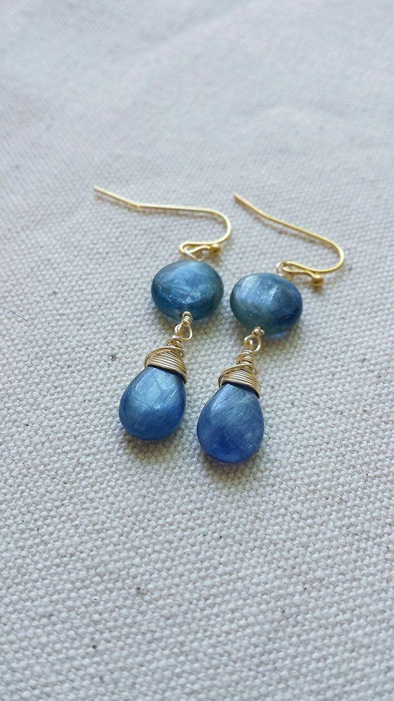 Gold Wire Wrapped Kyanite Earrings, Teardrop Kyanite Earrings, Blue ...