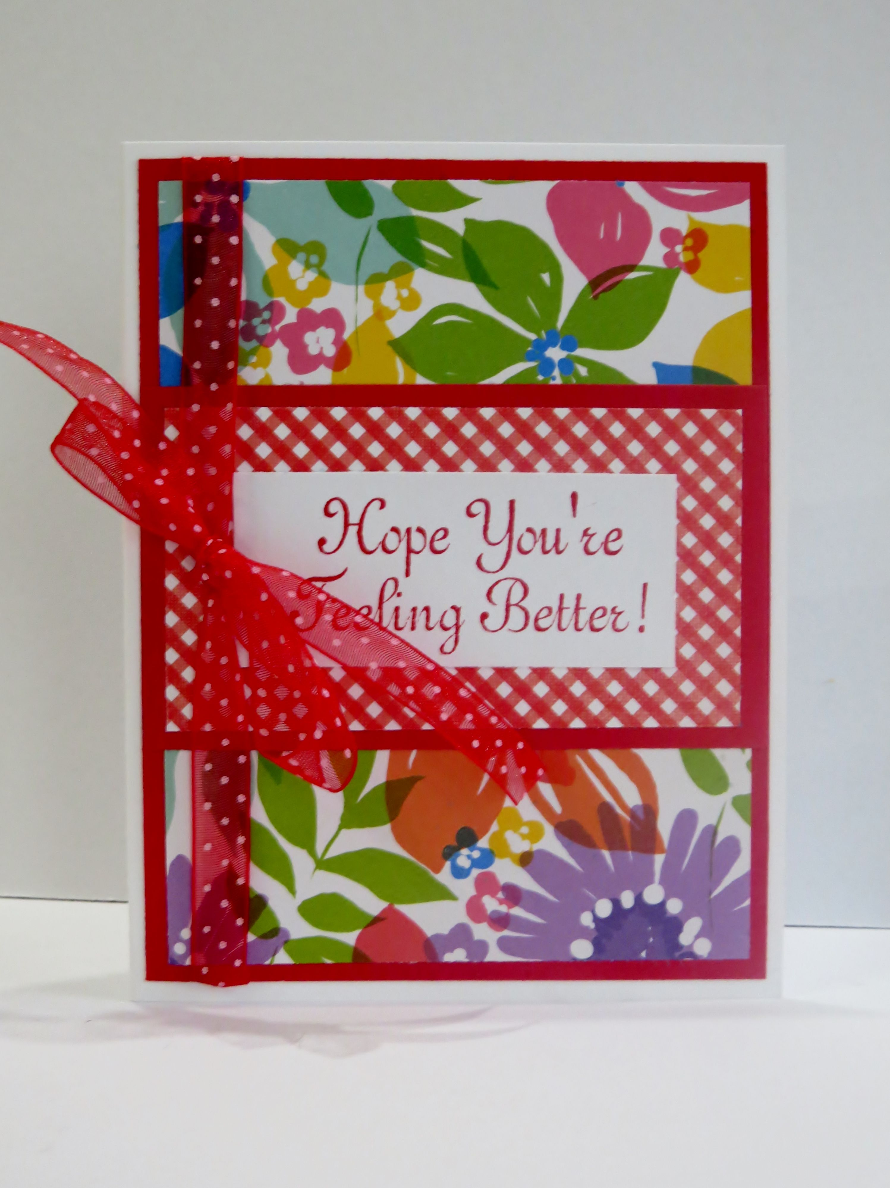handmade get well card pretty spring floral with red