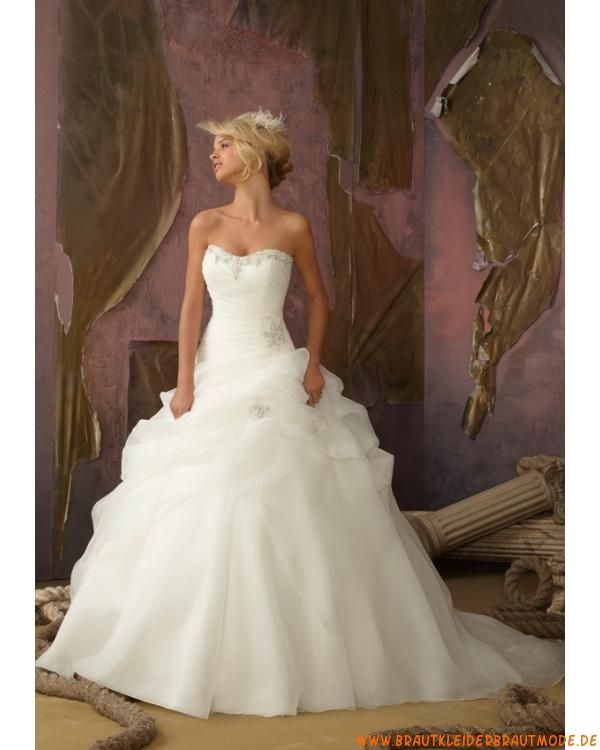 2013 Neue elegante Brautkleider aus Organza und Satin Ballrock mit Schleppe