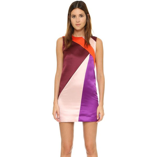 Milly Seamed Shift Dress (266.225 CLP) ❤ liked on Polyvore featuring dresses, burgundy multi, color block shift dress, color block dress, block print dress, keyhole dress and colorblock shift dress