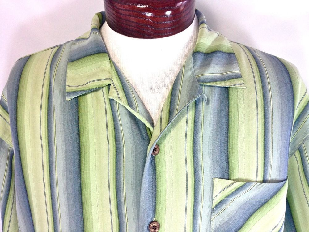 ***SOLD*** Tommy Bahama 100% Silk Green & Blue Striped Camp Shirt Mens Large Wood Buttons
