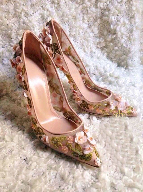 39913e28e29 Sweet Beaded 3D Flower High Heel Mesh Pretty Shoes | Shoes Heels ...