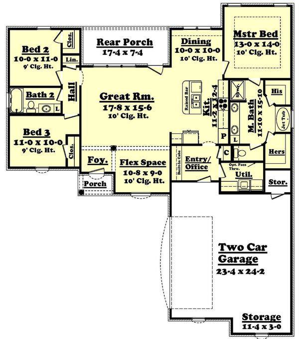 European Style House Plan 3 Beds 2 Baths 1600 Sq Ft Plan 430 55 Country Style House Plans Garage House Plans Apartment Floor Plans