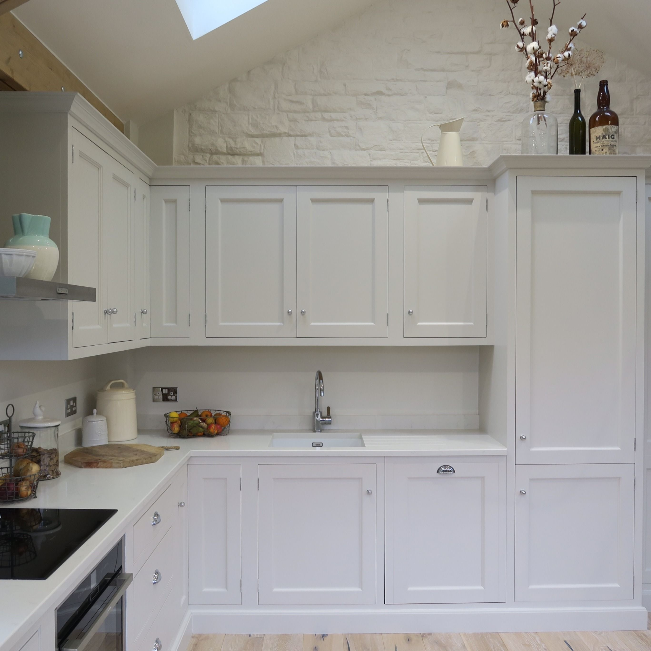 Beaded handmade kitchen cabinets painted in a light grey ...