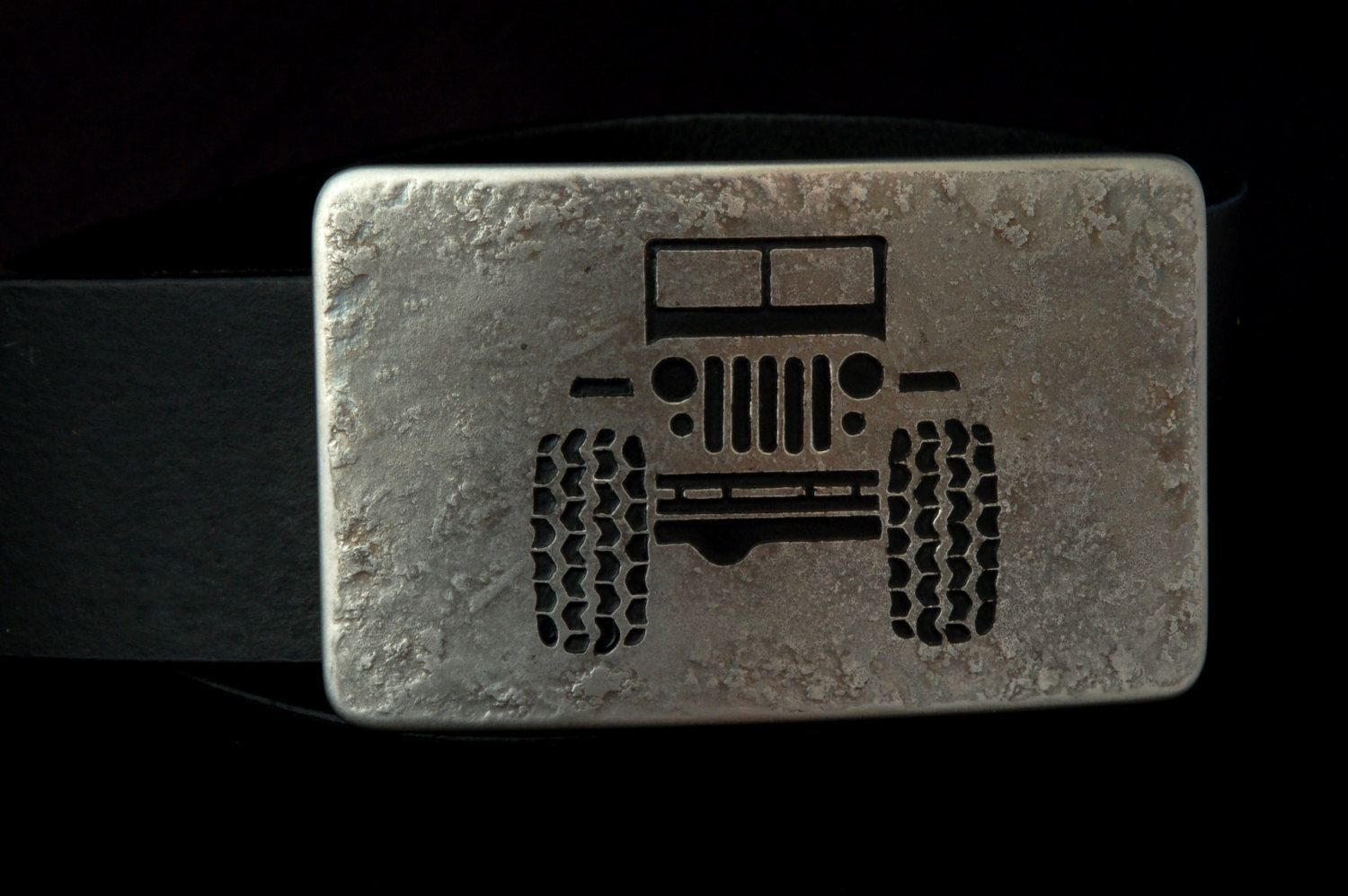 JEEP Accessories Silver Belt Buckle 4X4 Off Road Stainless Steel Tire Track Made in CANADA Hand Forged Belt Buckle Fits 1.5