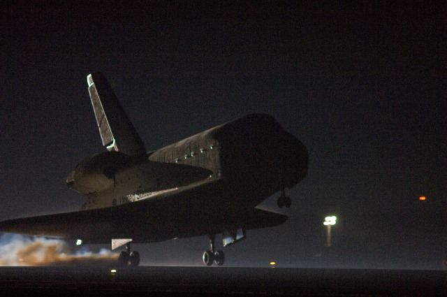 On March 26, 2008, the Space Shuttle Endeavour (STS-123) made a night landing at NASA's Kennedy Space Center.