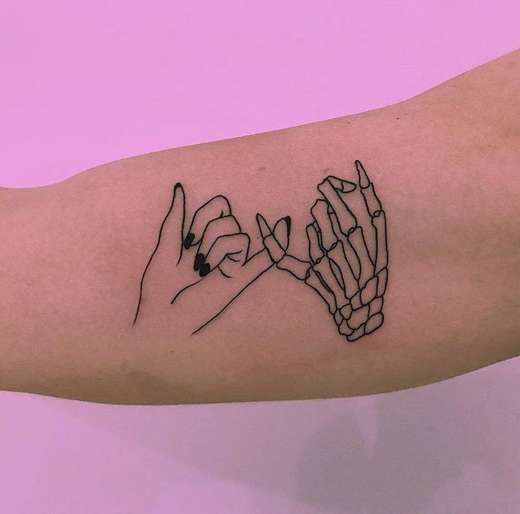 Pinky Promise Tattoos: Hand Skeleton Pinky Promise Tattoo