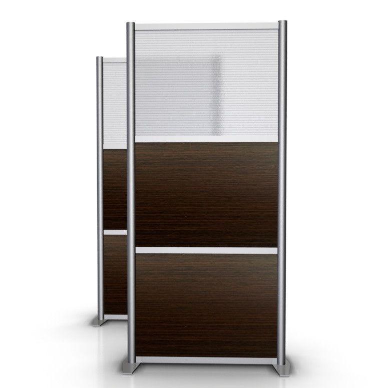 """35"""" wide x 75"""" high Room Divider, Dark Brown Wood & Translucent Model SW3575-1-1M-HTW-2M-CHIC"""