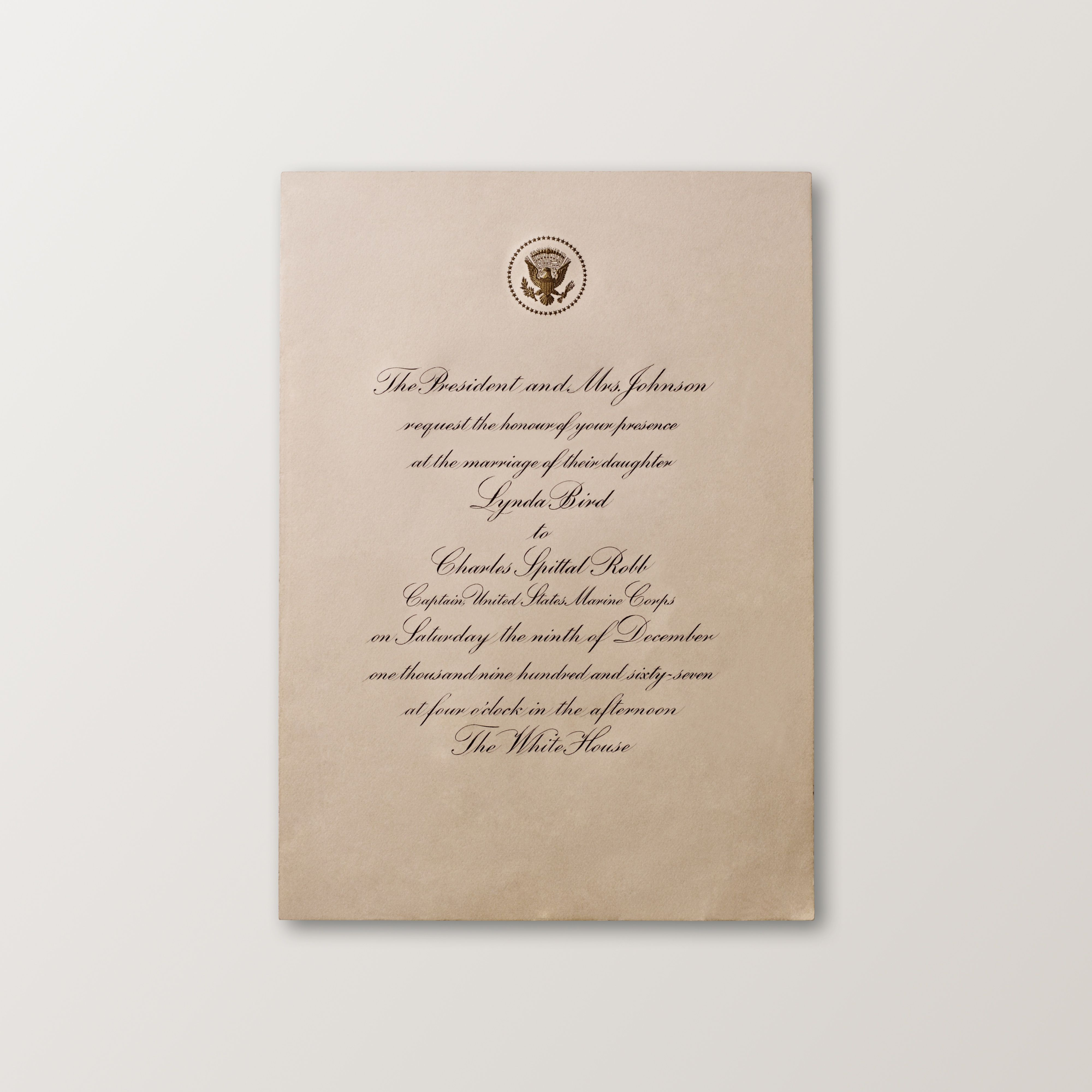 wedding invite email example%0A The wedding invitation for President Johnson u    s daughter