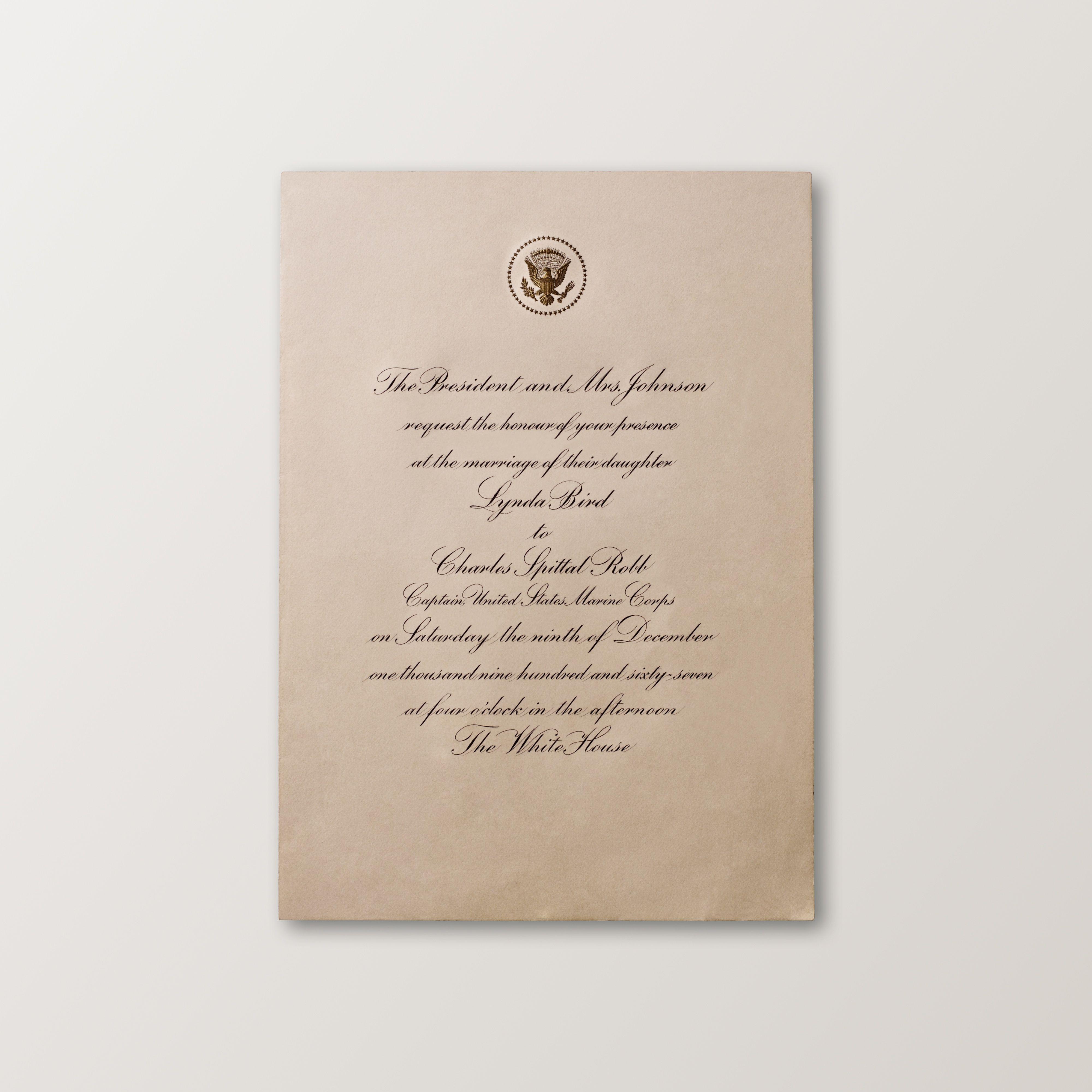 The wedding invitation for President Johnson\'s daughter | Presidents ...