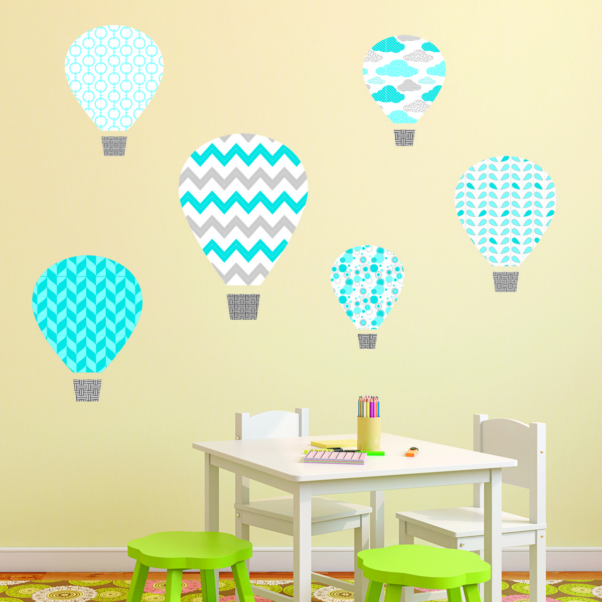 Blue Hot Air Balloons Textstyles™ Canvas Wall Decal | WallQuotes.com ...