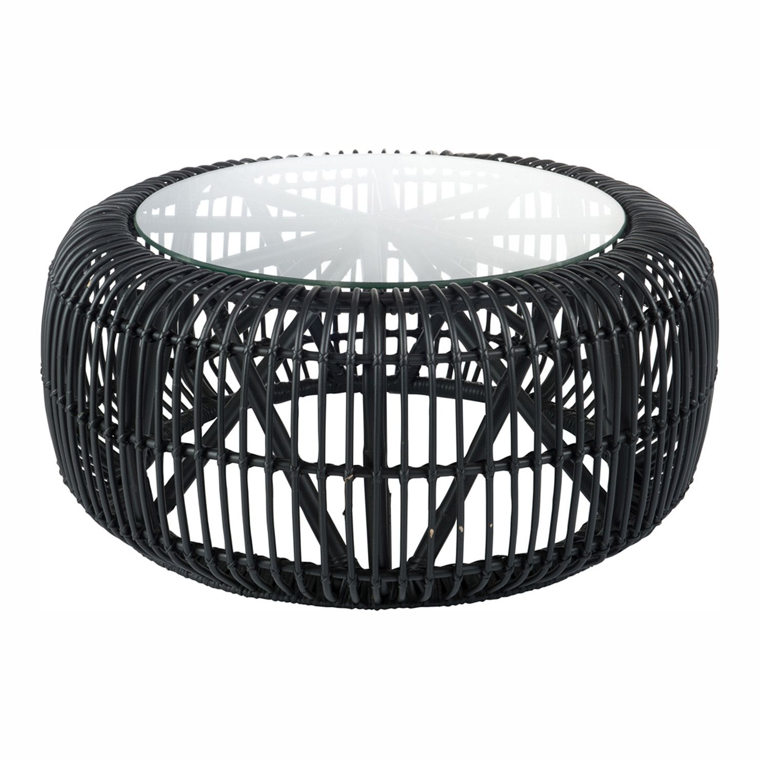 Round Rattan & Glass Coffee Table, Black in 2019 Rattan