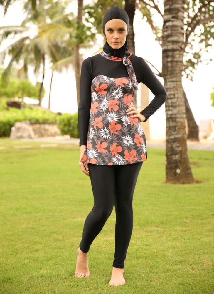 ba39653edf LADIES MODEST SWIMSUIT WOMEN MUSLIM SWIMWEAR THREE PIECE BATHING SUIT RASH  GUARD >cute!!