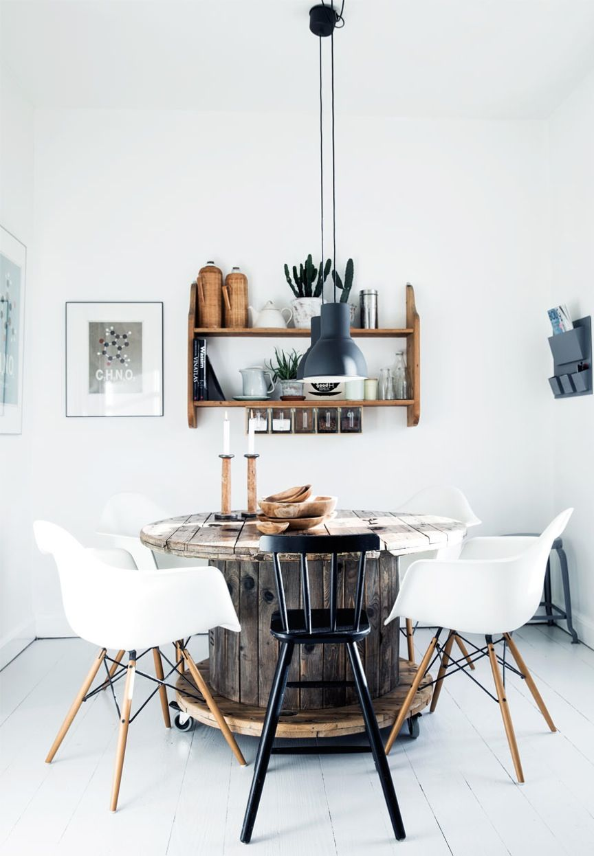 Rustic dining room with a cool DIY dining table idea