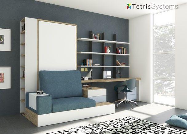 Dormitorio juvenil con cama abatible de 90 x 190 con for Sofa cama nido 1 plaza