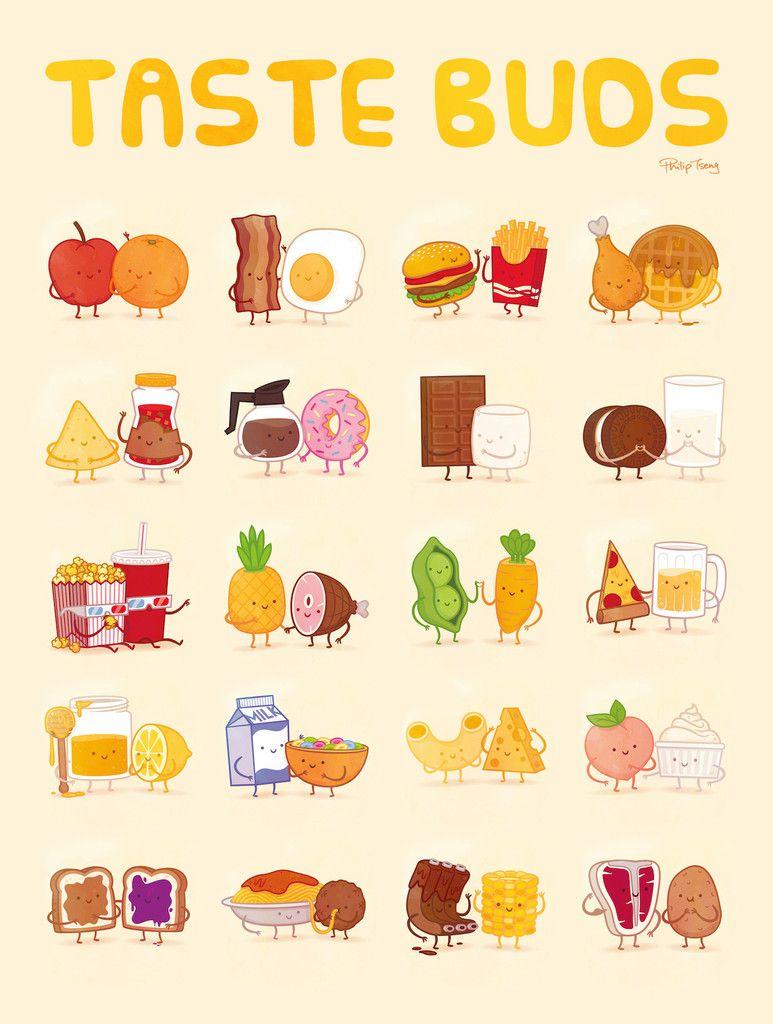 Taste Buds Poster By Philip Tseng In 2019 Cute Cartoon Foods