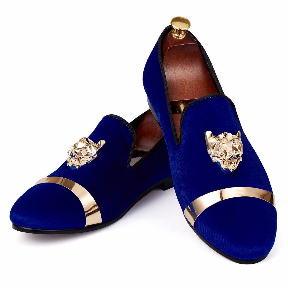 898937aa2ed28 Harpelunde Men Flat Shoes Animal Buckle Wedding Shoes Blue Velvet Slippers  Metal Circle Loafer Size 7-14