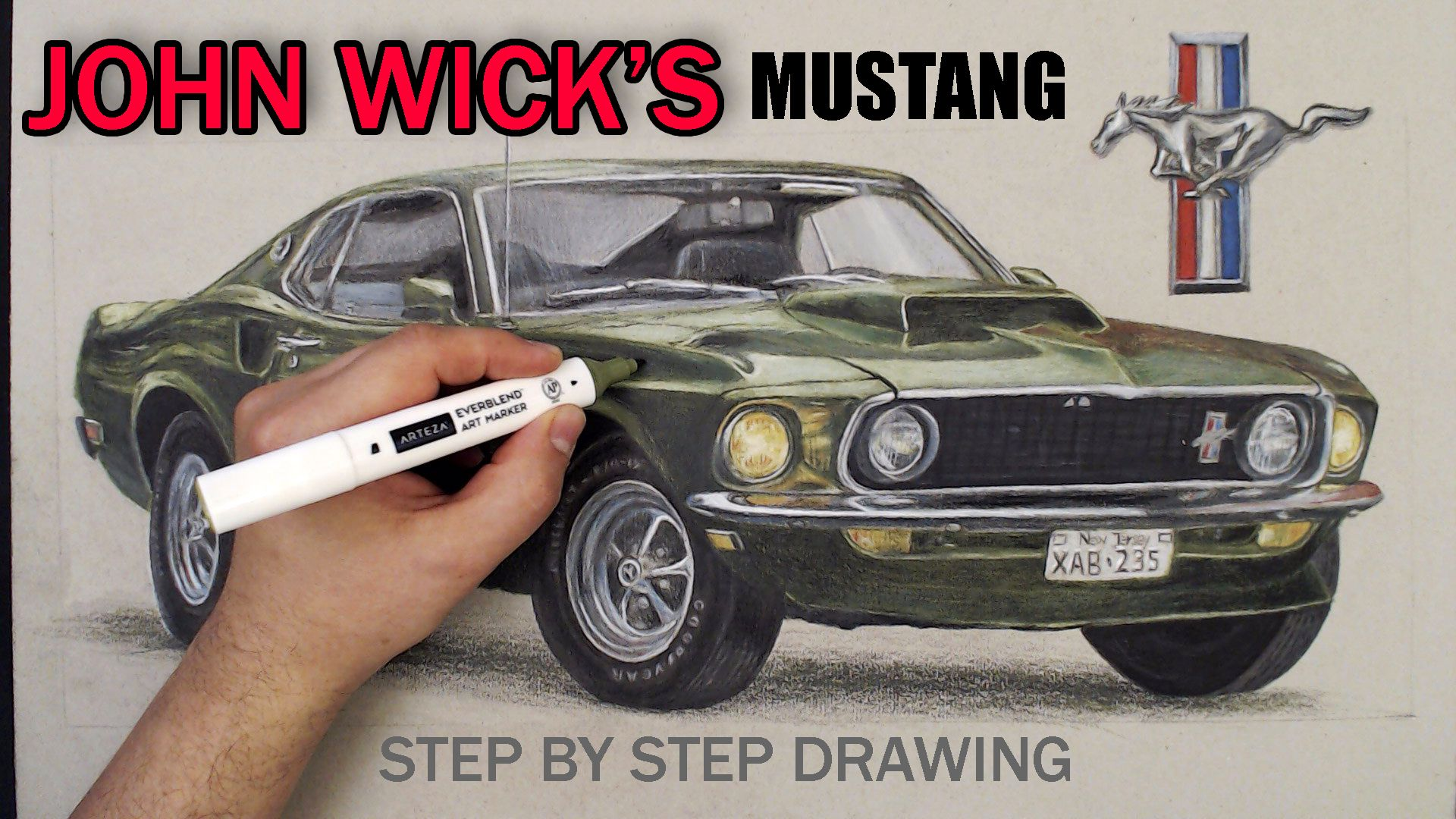 1969 Ford Mustang Boss 429 Drawing Markers Drawing Tutorial Mustang Art Marker Drawing