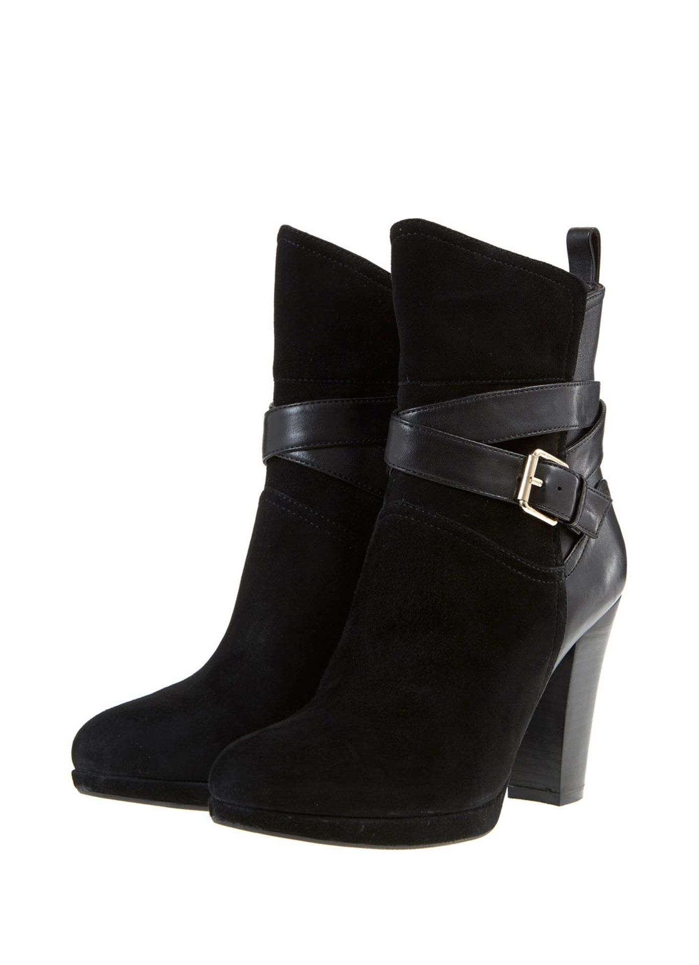 Black Erin Leather & Suede Strap Boots