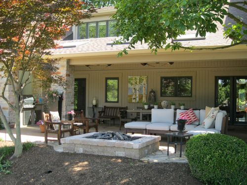 Outdoor Room With Covered And Uncovered Areas Area Includes A Built In Grill