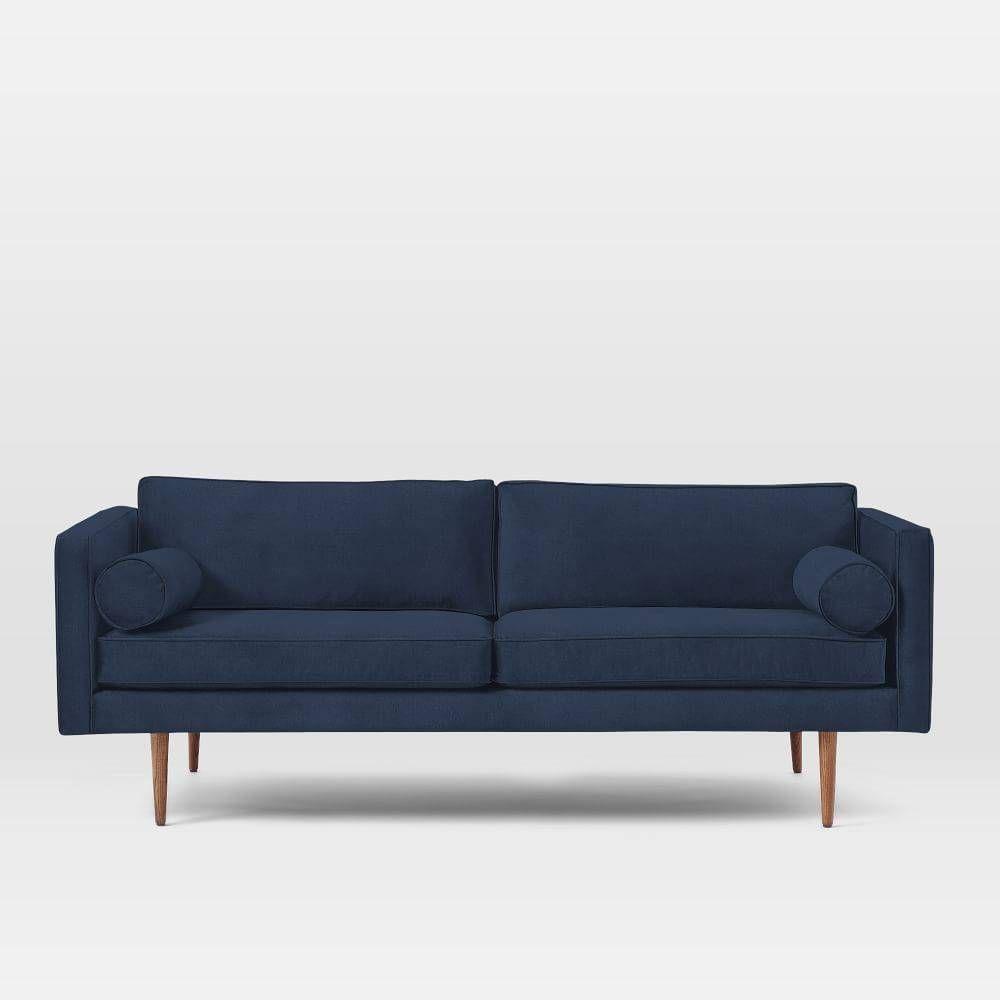 Thinking of a blue sofa. Monroe Mid-Century Sofa, Performance Velvet, Ink Blue - west elm - $1,499 - domino.com