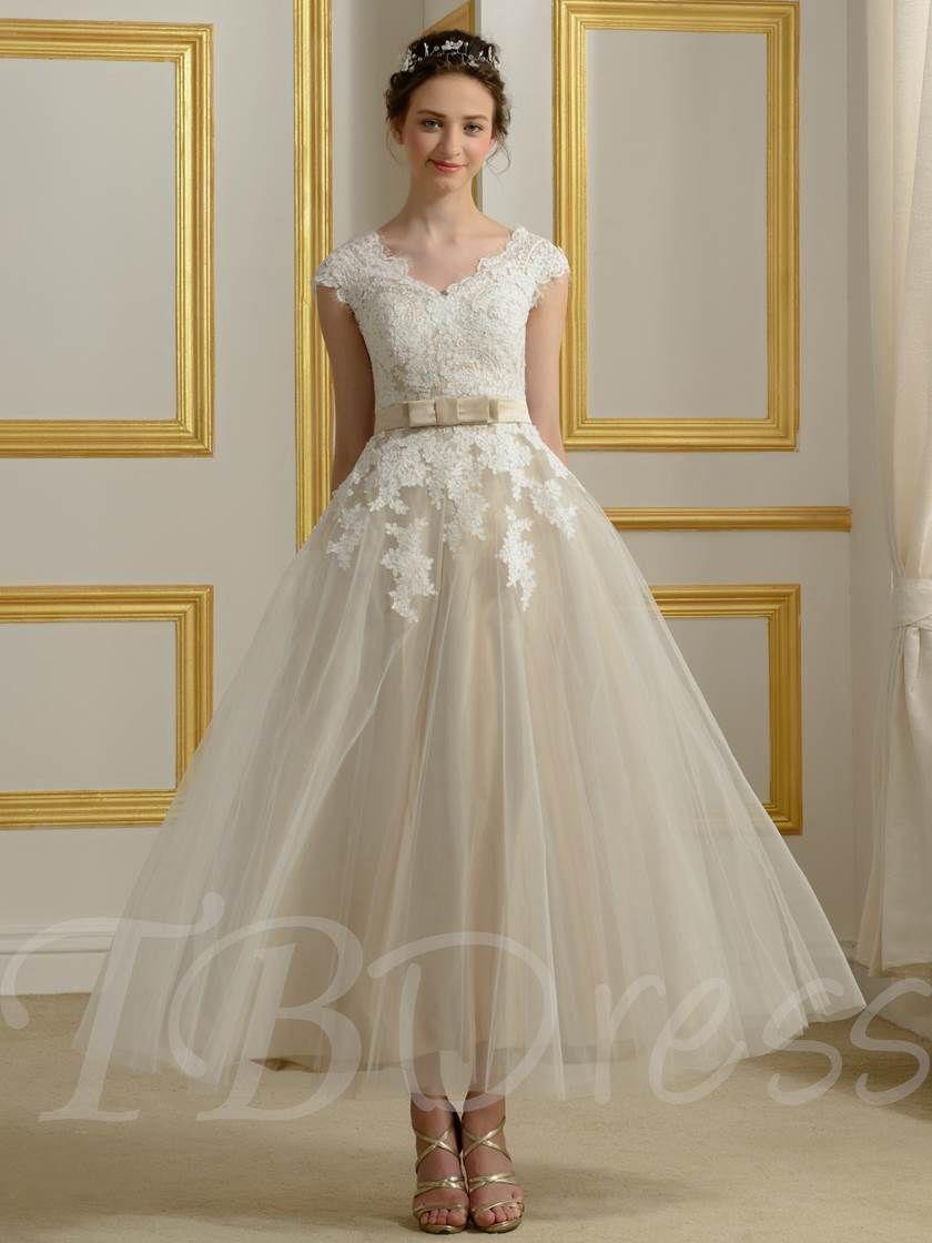 Appliques tealength beach wedding dress mariage pinterest tea