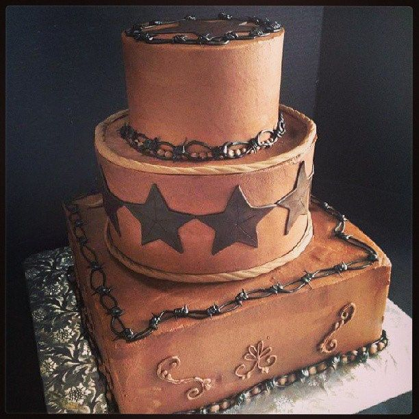 Cowgirl Wedding Ideas: Western Cake With Chocolate Buttercream, Stars And Barbed