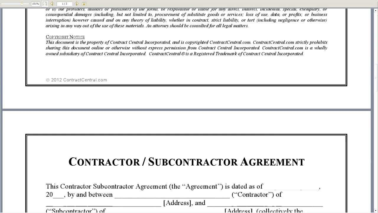 Subcontractor Agreement Contract template, Contract