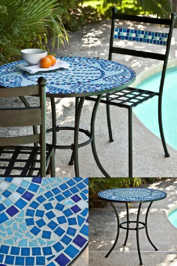 Iron Mosaic Bistro Table Round Tile Top Rustic 30 Aqua Blue White Patio Kitchen Crfurniture Bistro Table Round Tiles Patio Kitchen