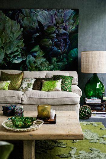 Décoration intérieure / Salon canapé lin tapis / Vert green beige