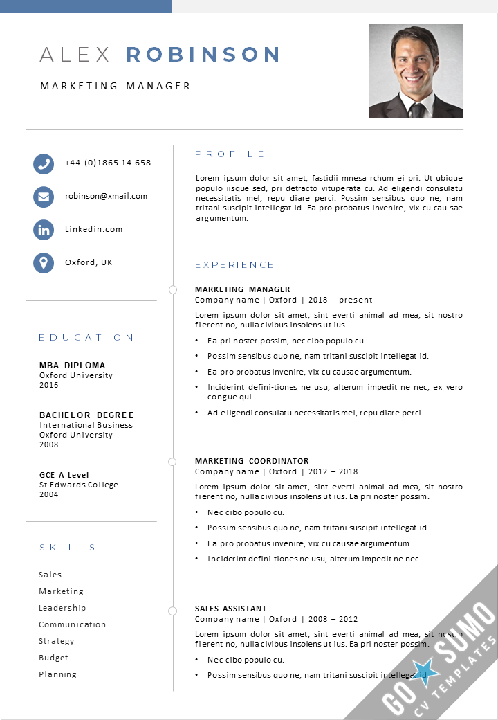New Cv Template Oxford 2021 Gosumo Cv Templates For Word And Powerpoint In 2021 Creative Cv Template Curriculum Vitae Template Cv Template