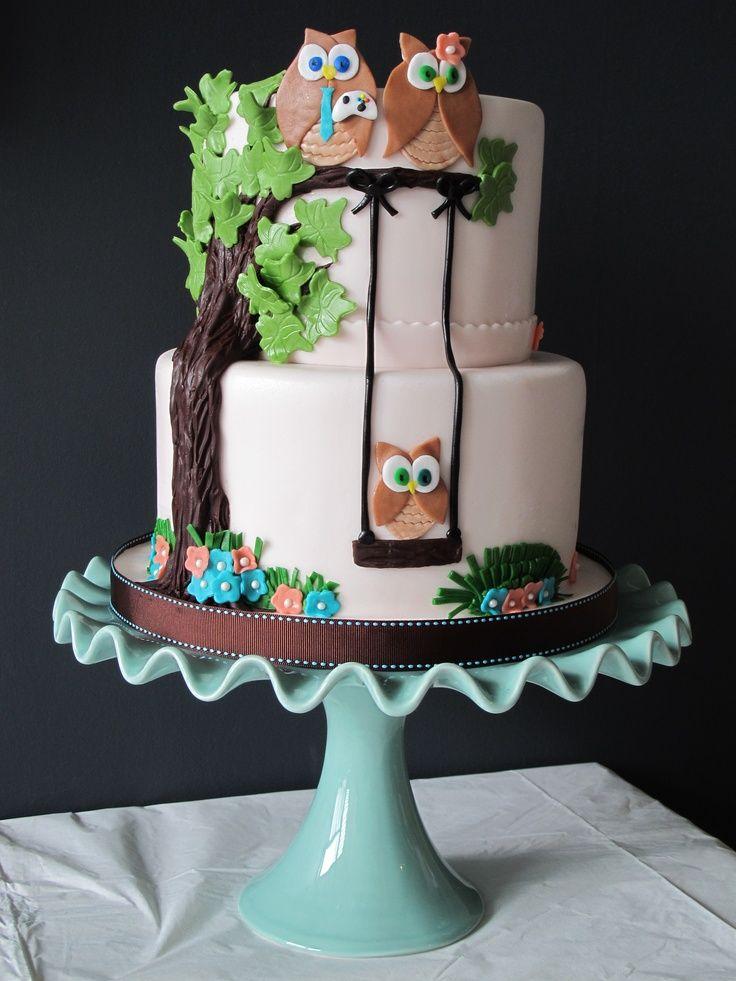 Superb Gâteau Shower De Bébé   Hiboux / Owl Baby Shower Cake.