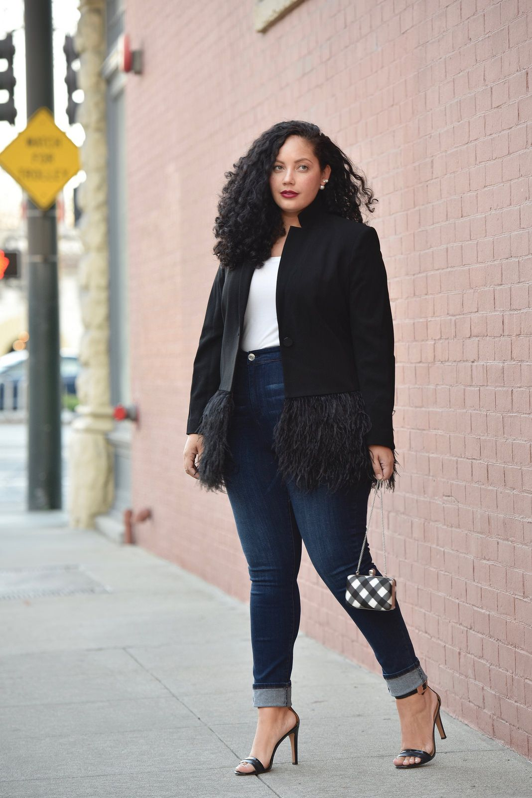 b55daef7519 Plus Size Fashion for Women. Feather Blazer and High Waist Jeans worn by Tanesha  Awasthi of GirlWithCurves.com