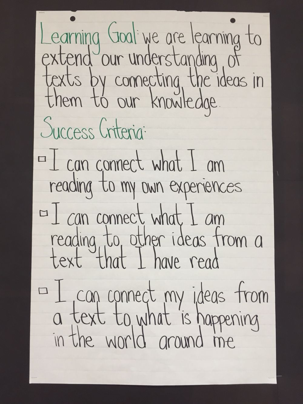 Learning Goal And Success Criteria For Making Connections Visible Learning Learning Targets Success Criteria Reading comprehension objectives for