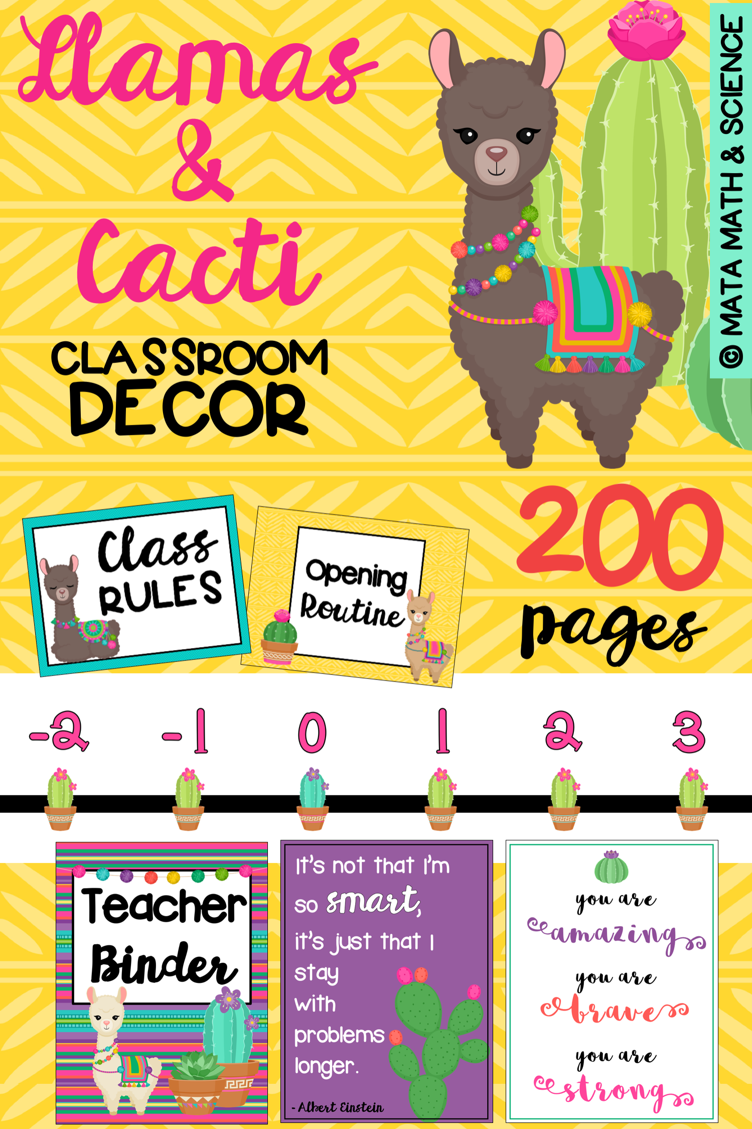This Llama And Cactus Classroom Decor Set Includes A Huge