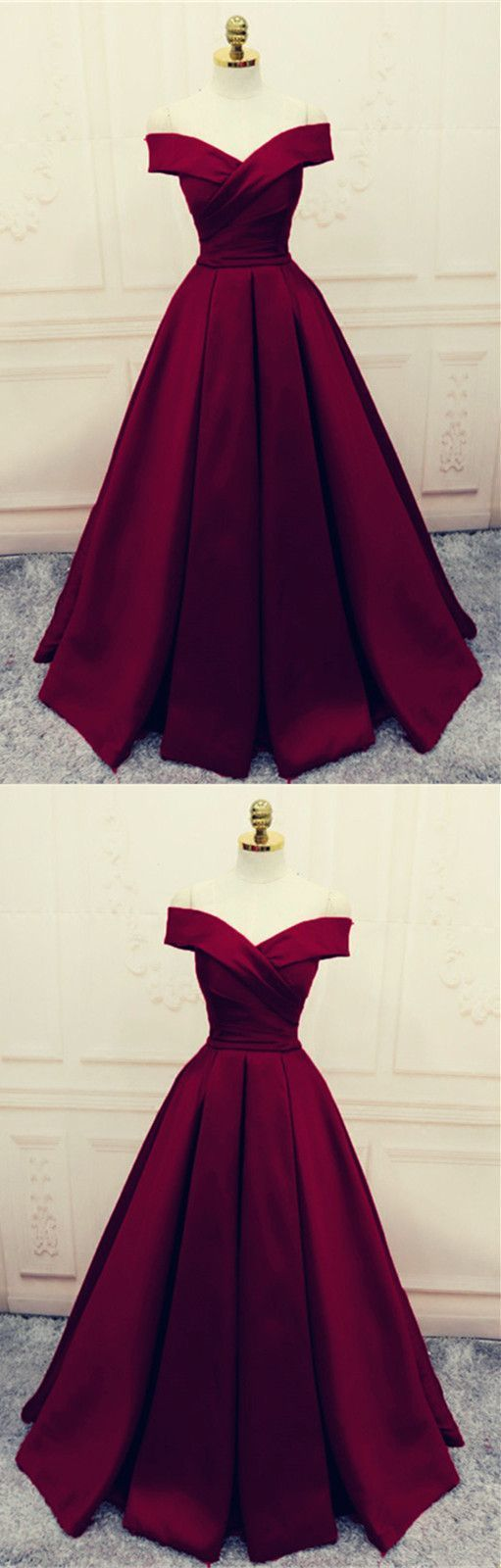 Satin off shoulder burgundy aline formal dress elegant party dress
