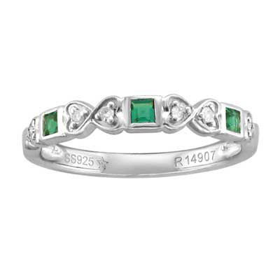 May Babies <3 Princess-Cut Emerald and Diamond Accent Ring in 10K White Gold